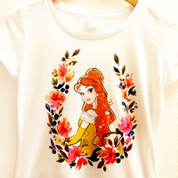 Belle Floral Shirt - Beauty and the Beast - Flower Romantic Polyester  Thin Tee Top Women - Disney Princess Tumblr S, M, L, XL, XXL