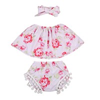 3Pcs born Baby Girls Clothing Set Sleeveless Floral Tube Top + Tassel Shorts + Headband 3PCS Outfits Clothes