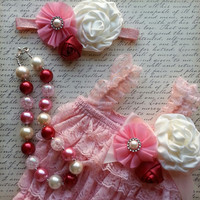 Lace Romper Set, Pink Romper, Valentine's Romper, Valentines Outfit Petti Lace Romper Set Photo Prop Smash Cake Outfit First Birthday Outfit