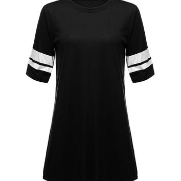 Women Short Sleeve A-Line O Neck Mini Dress Casual Dress