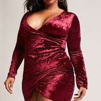 Plus Size Velvet Surplice Dress