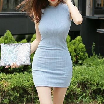 Tight Solid Color High-Neck Dress