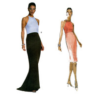 Vogue 2251 Vera Wang FITTED EVENING GOWN Cocktail Dress Pattern Straight Maxi Dress Size 18 20 22 UNCuT Plus Size Women's Sewing Patterns