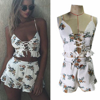 Wrap Crop Top Falbala Shorts Flower Print Two Pieces Set
