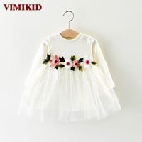 VIMIKID Baby Girls Dress 2017 New Dress for Baby Girls Long Sleeve Embroidery Flowers Mesh Tutu Dress Children Clothing Toddler