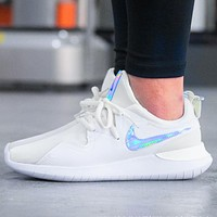 Nike women's shoes 2019 spring new TESSEN cushioning breathable sports running shoes White Laser