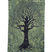 Twin Size Green Tree Of Life Tapestry Wall Hanging Decor Art on RoyalFurnish.com