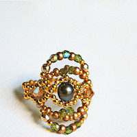 Swarovski crystal ring beaded with gold filled beads