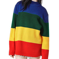 Color Block Long Sleeve Sweater
