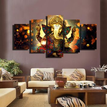 5 Panels Ganesha Wall Art Poster Hindu Gods Canvas Painting Prints on Canvas For Living Room Home Decoration Gift Unframed