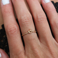 Promise ring, Knot ring - infinity ring, Gold ring - silver ring, stacking ring