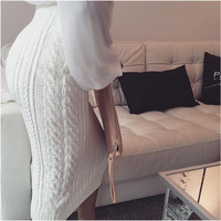 Paragraph Twist Wool Knit Package Hip Maxi Skirt