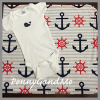 Nautical Baby Gift Set, Personalized Baby Blanket and Whale One-piece, Anchor Baby Blanket, Nautical Baby Blanket, Large Baby Blanket