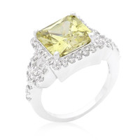 Halo Style Princess Cut Peridot Cocktail Ring, size : 05