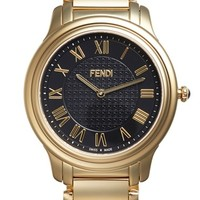 Women's Fendi 'Classico' Round Bracelet Watch, 40mm - Gold/ Black