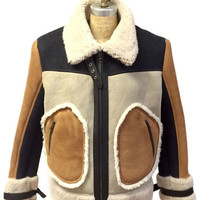 Jakewood - 710 Tobacco & Cream Shearling Bomber Jacket