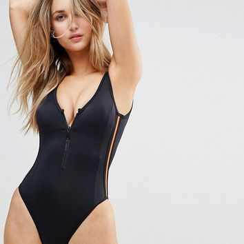 Free Society Sporty Zip Swimsuit at asos.com