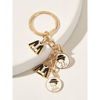 Faux Pearl Decor Letter Charm Keychain