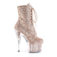 "Adore 1020G Glitter Ankle Boot 7"" Platform High Heel - Rose Gold"