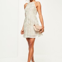 Missguided - Nude Lace 90's Neck Skater Dress