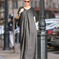 Maxi dress, Linen dress women, Sleeve dress, Pockets dress, Summer dress, Long black dress, Designer dress, Dresses, Dress for women  D25918