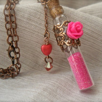 "Love Potion Vial bottle necklace Pixie Dust Hot pink Rose Heart Swarovski Crystals charm copper 26"" chain Cupid valentine Amortentia"