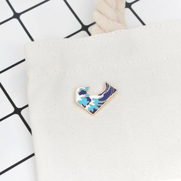 Ocean wave pins and brooches Brooches Badges Hard enamel pins Fashion jewelry Denim jacket tote bag backpack accessories
