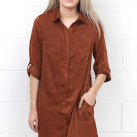 Soft as Silk Shirt Dress {Cinnamon} - Size SMALL
