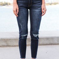 Dark Distressed Cropped Jeans