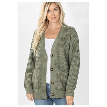 Cozy Cute Waffle Knit Lt Olive Sweater Cardigan with Buttons