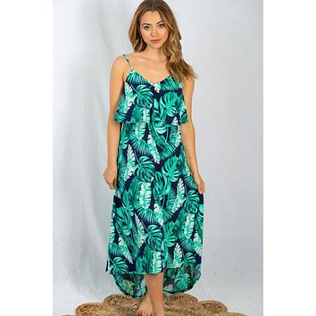 Sway In The Breeze Tropical Leaf Print Maxi Dress