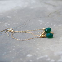 Emerald green onyx Gold pyrite chain earring Moroccan Egyptian Roman Sparkly briolette 14k fill Sexy elegant Deep Forest Bohemian Victorian