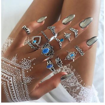 Bohemian Blue Sapphire Crystal Ring Set