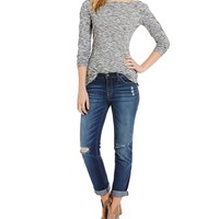 Jessica Simpson Mika Slim Slouch Destructed Boyfriend Jeans | Dillards