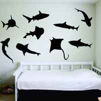 Shark Infested Wall Decal Sticker Vinyl Art Bedroom Living Room Nursery Quote Decor Ocean Beach Nautical