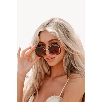Margo Floats Hexagon Shaped Sunglasses (Gold/Brown)