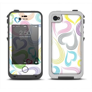 The Pastel Color Vector Heart Pattern Apple iPhone 4-4s LifeProof Fre Case Skin Set