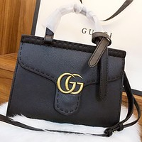 GUCCI New fashion leather shoulder bag crossbody bag handbag Black