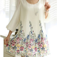 White Floral Printed Ruffled Chiffon Mini Dress