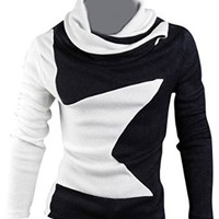 jeansian Men's Slim Fit Long Sleeves Casual Shirts Pullover Sweater 8824