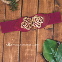 Wine & Gold Leaf Stretch Belt