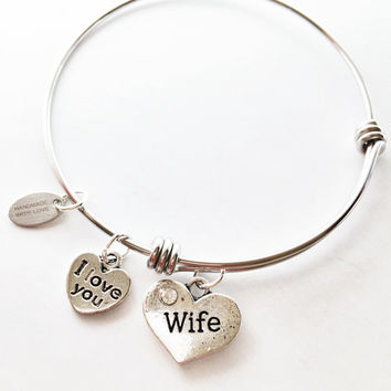 Wife Expandable Bracelet Wife Wire Bracelet Wife Charm Stacking Bangle Stainless Steel Wife Charm Bracelet Wife Adjustable Wire Bracelet