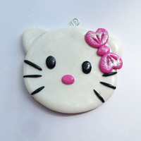 Hello Kitty - chunky necklace bow center appliques polymer clay charms pendant