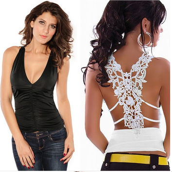 New Fashion Summer Women Tank Top Sexy Croceht Lace Tops Deep V Neck Back Hollow Out Woman Vest Camisole Lace Shirts