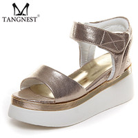 2017 New Women Platform Sandals Gold &Sliver Women Gladiator Sandals Fashion Hook Loop Wedge Shoes Woman Size 35~40 XWZ2267