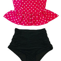 Minnie Hot Pink Polka dot Strapless Flounce Top and Ruched Scrunch High waist waisted rise Shorts Bottom Swimsuit Bikini Bathing suit S M