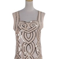 Anna-Kaci S/M Fit Beige Sequin Embellished Squiggle Embroidered Entwined Top