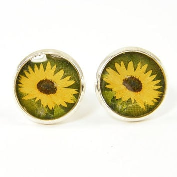 Sunflower Earring Studs - Yellow Brown Green Nature Round Small Silver Post Earrings