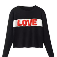 Black Contrast Letter Pattern Long Sleeve Knit Sweater