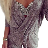 Fashion Dark Gray 3/4 Sleeve V Neck Wrap Jumpsuit Playsuit One Piece Party Dress = 1958114180